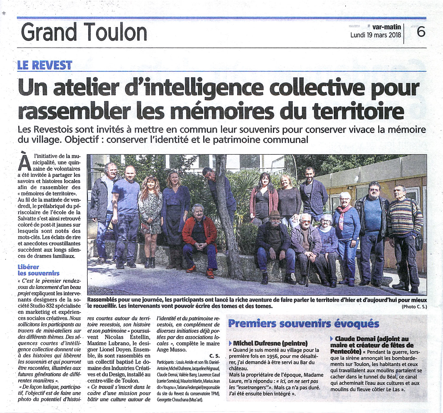 Marketing territorial Article presse Var Matin Atelier intelligence collective Toulon Var