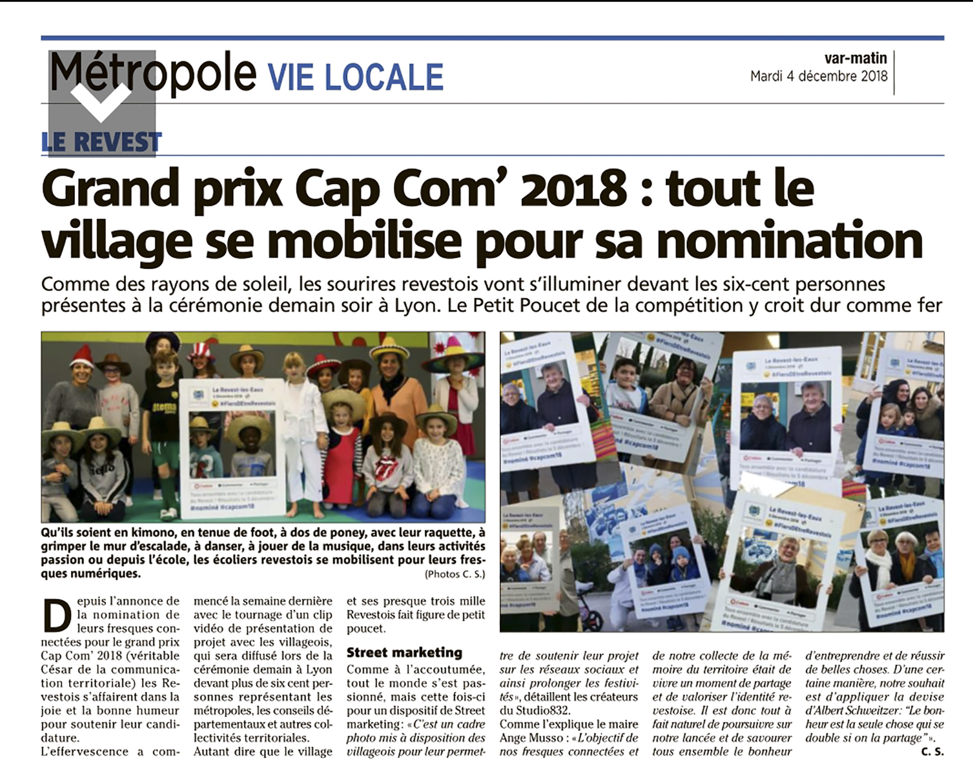 Agence communication Marketing territorial article Var matin presse locale