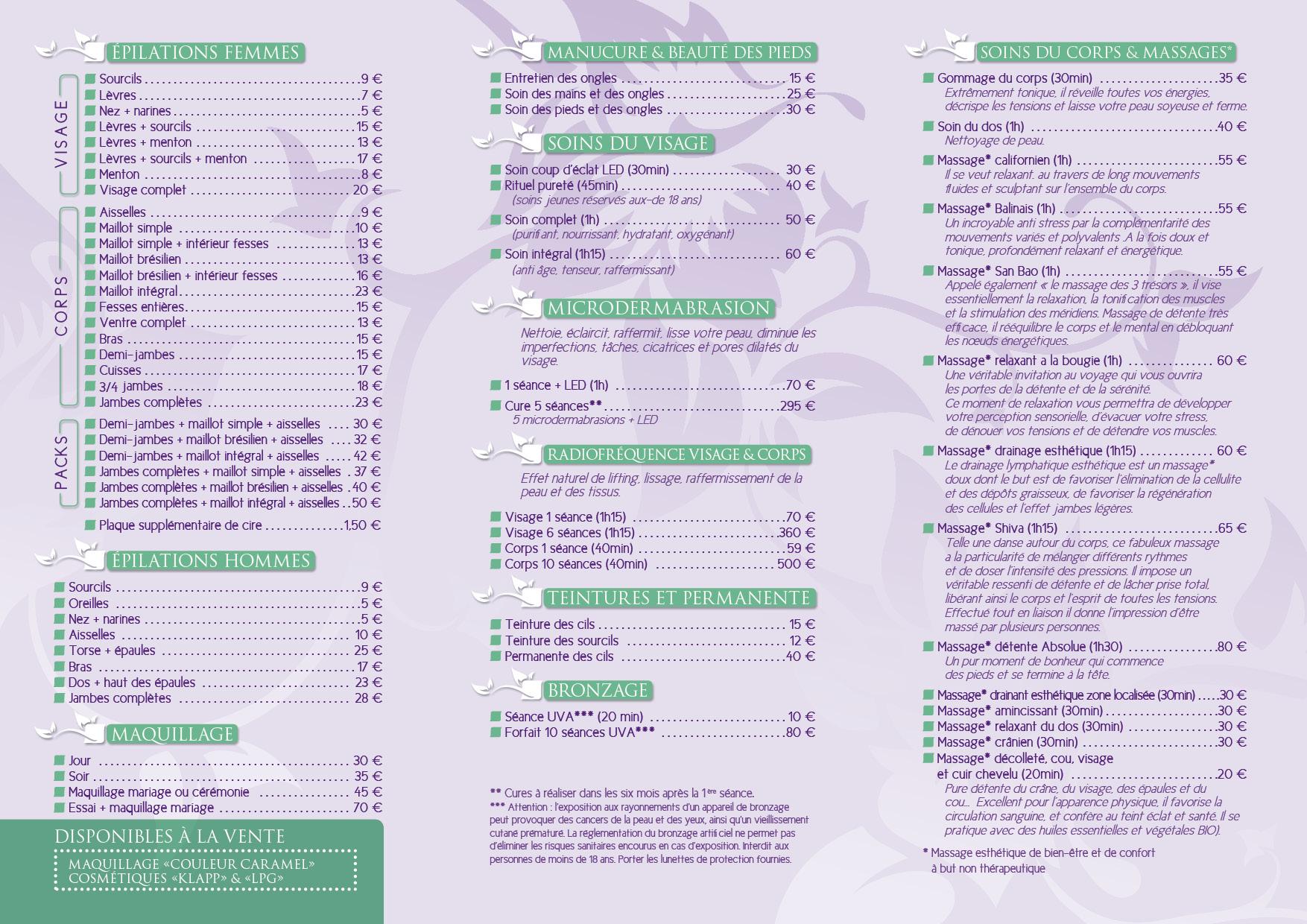Communication Institut beauté Var 83 - impression dépliant Tarifs-2plisRoulés