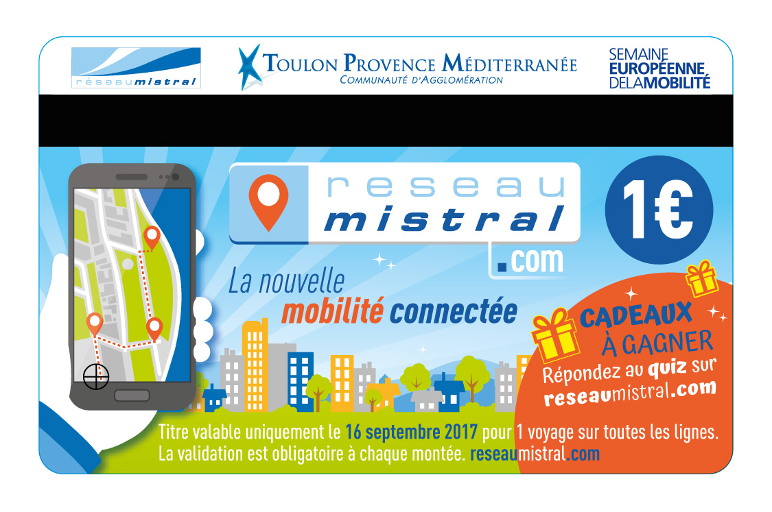 Agence communication service public à Toulon - Ticket de transport événementiel